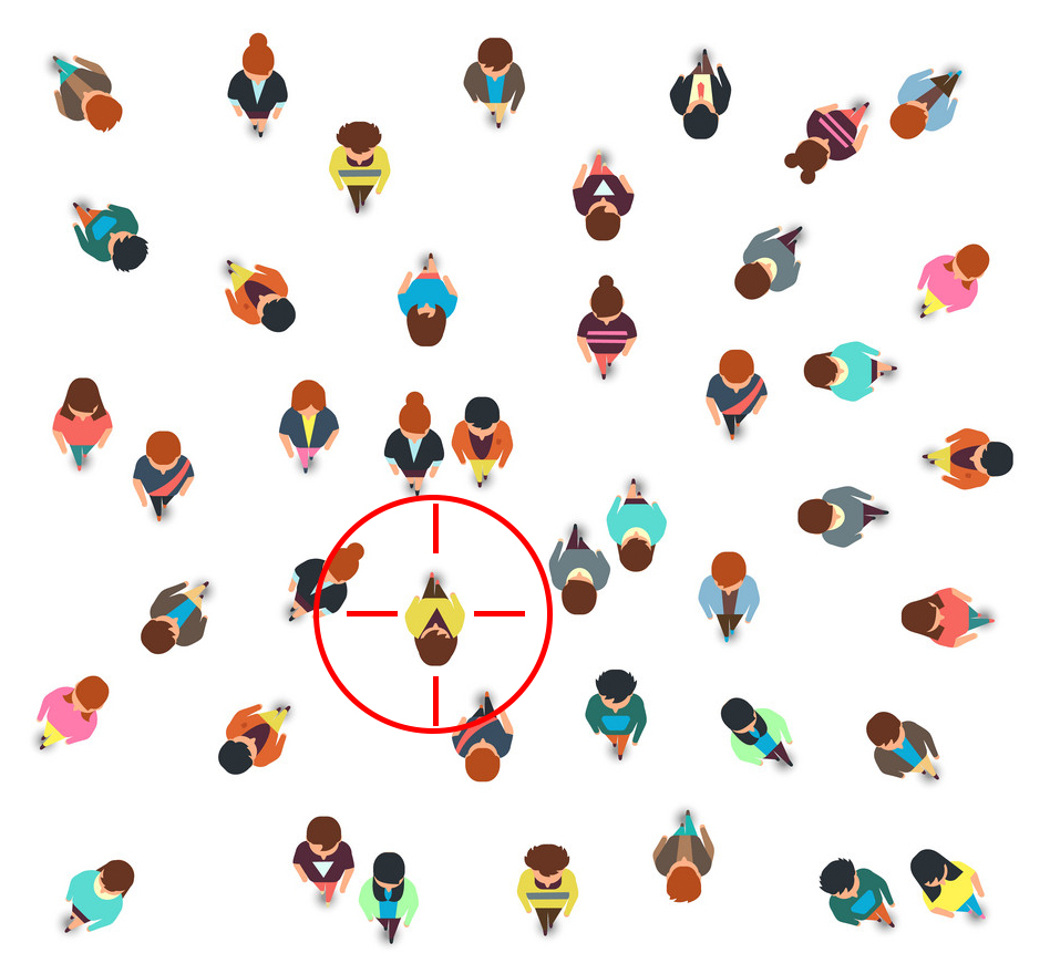 Gathering people group top view, walking men and women, social crowd vector illustration isolated